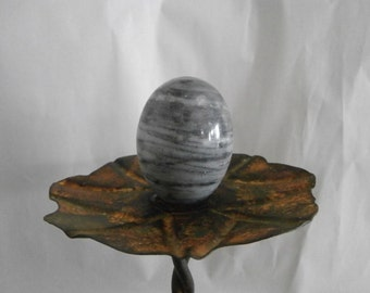 Tiger- Egg - Vintage Gray Variegated   Alabaster Egg - Paperweight EGG