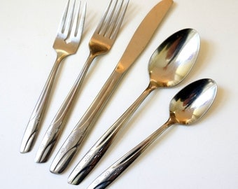 Vintage Mid Century Thor Stainless Alameda Flatware Set / Atomic Starburst Pattern / Your Choice of Service for 8 and Ice Teaspoons