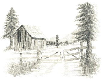 Old Ranch Barn Pencil Drawing Print