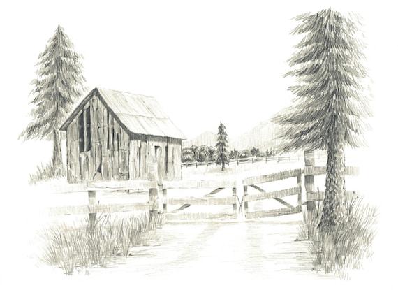 Old Ranch Barn Pencil Drawing Print