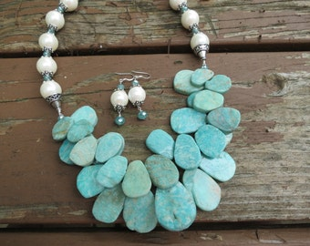 Amazonite Slices with Creamy White Pearls and Crystals