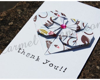 Thank You Card ~Origami Heart ~Love ~Hand-folded ~Greeting Card