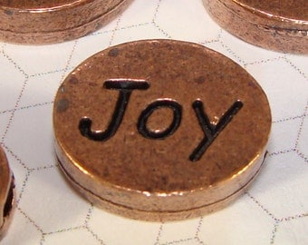 4 JOY Message Beads Copper Plated Pewter USA Made Oval Inspirational Charms for Friendship Bracelets Jewelry Supplies Word Beads
