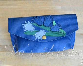 Blue Ladybells Small Leather Pouch
