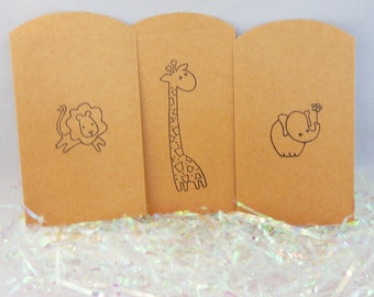 25 ct-Safari Theme Bags Baby Shower Favors, Giraffe, Lion, Elephant Favor Bags