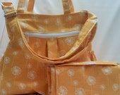 Yellow Dandelion Diaper Bag and matching changing clutch, cloth diaper bag, nappy bag, Yellow Diaper Bag