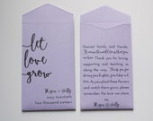 Let Love Grow Personalized Seed Packet Wedding Favors - Many Colors Available