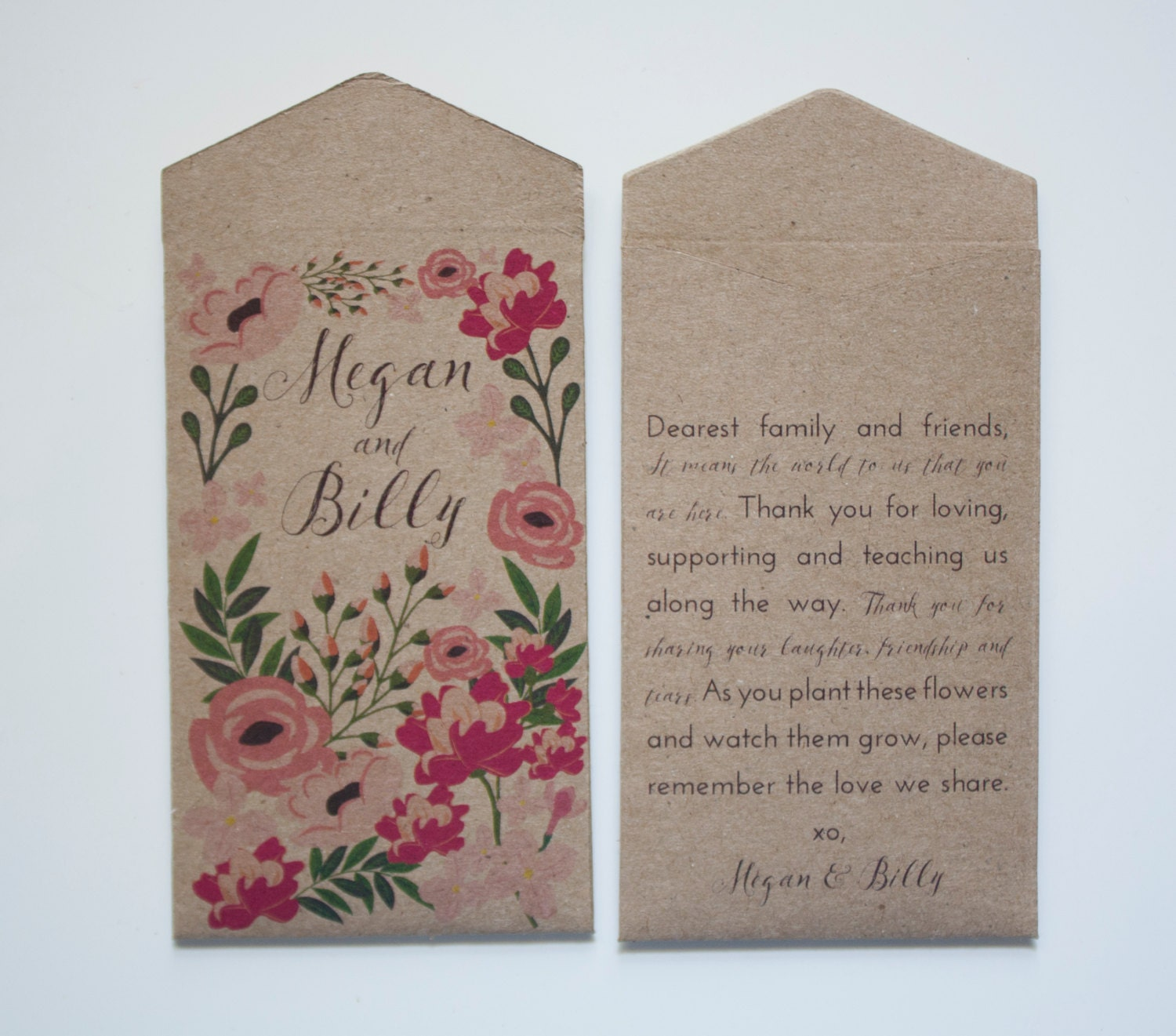 Kraft Seed Packet Garden Party Wedding Favors Many Colors