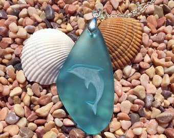 New! Dolphin pendant engraved Sea Glass Jewelry a symbol Harmony and Balance - choose your color