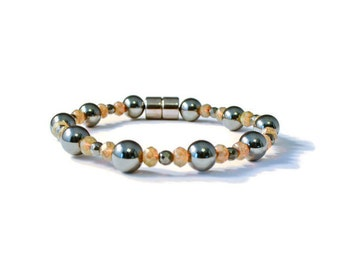 Magnetic Therapy Bracelet, Black Hematite and Creamy Opal Czech Glass Beads, Pain Relief Jewelry