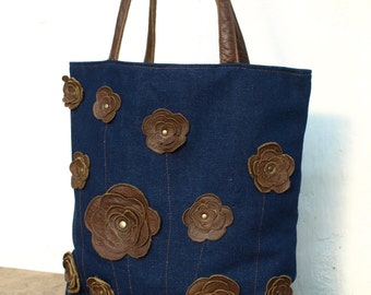 brown leaher tote floral tote, brown leather bag, Denim Totebag, womens leather tote, shoulder bag, boho tote, floral bag studded floral bag