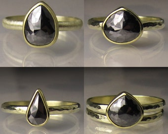 Custom Rose Cut Black Diamond Ring 18k and 14k Gold - Made to Order