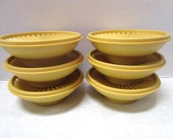 12 piece Vintage Tupperware 890-8 Bowls w/ Lids Serve / Store Space Saving Set Plastic Harvest Gold Thumb Press Seal Lid Picnic Cereal Salad