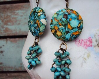 Bohemian Chic Earrings Beaded Wood Turquoise and Mosaic Marbled Stone Beads Antique Brass