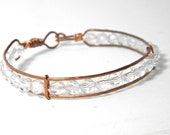 Bangle bracelet, copper and crystals, hand crafted bangle, hippie chic, boho, 1970 retro style, stacking bracelet, mix  match, trending