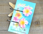 Flower Bobby Pins, 1 inch Flower, Pink and Orange,  Floral Hair Pins