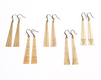 Geometric Earring Dangle Hand Scribed Lines on Golden Brass