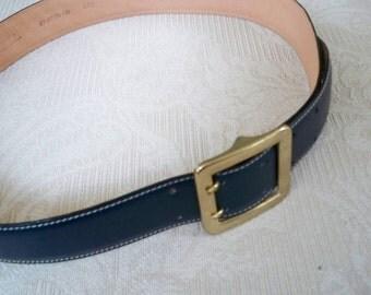 "Vintage Accessory Women's  Navy Leather ""L""  Size 29 - 34 Talbot's Belt"