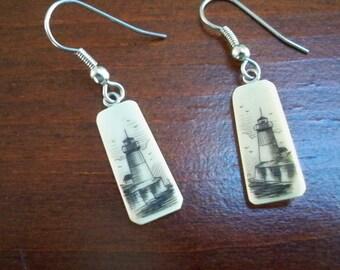 Vintage Jewelry Drop Scrimshaw Style Earrings Pierced Lighthouse Earrings Beach Jewelry
