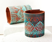 Fashion Gift Teal Turquoise Jewelry - Leather Cuff Bracelet Wrist Cuff - February Winter Trends - Gypsy Boho Chic
