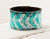 Southwest Jewelry Turquoise Bracelet - 2016 Tribal Native Bracelet Leather Cuff Etsy Finds - Chevron Geometric Pattern - Leather Wristband