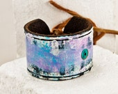 Etsy Love 2016 Reconstructed Jewelry Remade Accessories - Turquoise Purple White - Black Leather - Etsy Cuff Shop - Items I Love
