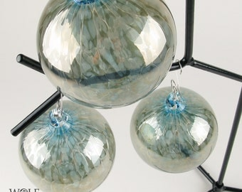 Blown Glass Ornament Suncatcher Christmas Tree Ornament Silver Blue
