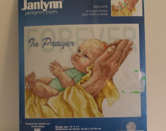 In Prayer Forever praying hands with baby Counted Cross Stitch Kit