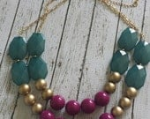 Teal, Gold, and Orchid Purple  Chunky Statement Bib Necklace...Purchase 3 or more get 10% off