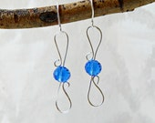 Silver Wire Wire Earrings with Blue Crystals