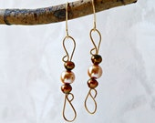 Gold Wire Wrapped Earrings with Ivory and Brown Irridescent  Pearls