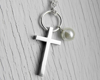Silver Cross and Pearl Necklace