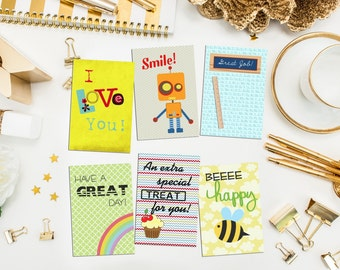Assorted Lunch Box Notes. I love you. encouragement. children notes. lunch box greeting. for son. for daughter. Set of 12 lunchbox notes.