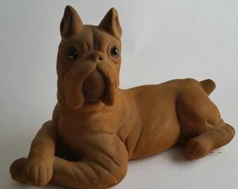 Vintage Boxer Bank Dog Puppy Burnt Sienna Orange Brown Animals 70s 80s Design Distressed