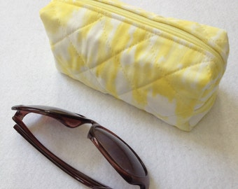 Small quilted zipper case - cosmetics pouch, notions storage, travel accessory, sunglasses bag, yellow pineapple, Iza Pearl fabric
