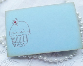 Childrens Birthday and Party Place Cards Food Buffet Label Tags Cupcake Set of 10