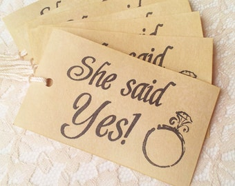 Wedding Tags She Said Yes Wedding Ring Coffee Stained Rustic Set of 60