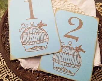 Wedding Table Numbers Love Birds Birdcage Table Cards Numbered Tags Set of 10