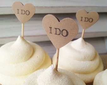 Heart Wedding Mini Cupcake Toppers or Food Picks I Do Set of 100
