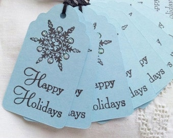 1 DOLLAR SALE Happy Holidays Snowflake Christmas Tags Blue Set of 10