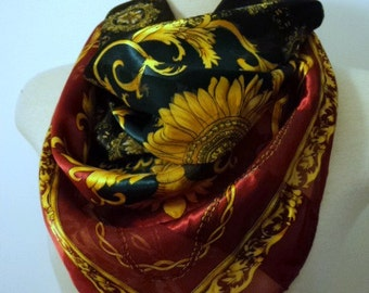 Vintage 1990's Floral Scarf // Sunflower Fleur De Lis Scarf // large Square Neck Scarf