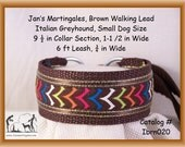 "Jan's Martingales, Brown Collar Leash Combination Walking Lead,  Italian Greyhound, Small Dog Size, 9 1/2"" Collar Section. ibrn020"