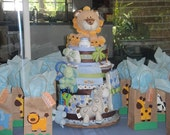 Reserved for Alison Baker....diaper cake only centerpiece made in yellow with cordinating ribbons and baby items.