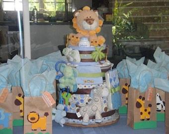 3  Tier Diaper Cake, baby shower centerpiece, ultimate diaper cake