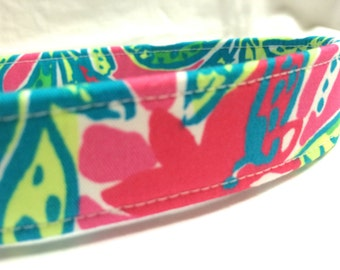 Lilly Pulitzer Fabric Dog Collar Girl Boy Pink Teal Flowers