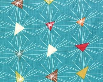 Mod Century Fabric - Triangle Sun Rays - Turquoise - 1 Yard - SKU# 30512-16 - Jenn Ski - Moda Fabrics