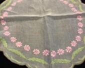 Vintage 19 Inch Round Nylon Pink and Green Centerpiece