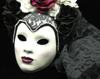 Sale! Lady Midnight Mask, Ghostly full faced Mask with Rose Headdress and trailing Lace