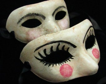 Dollfaced Couple Masks, male/female paired faux porcelain baby doll faced paper mache masquerade masks