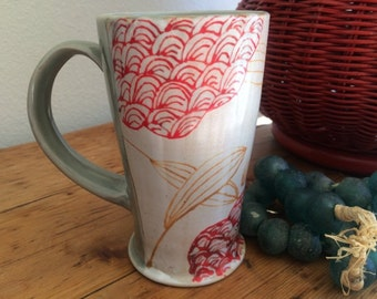 Pottery Coffee Cup: Hand Made with Red Flowers